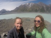 At Mt Cook, we took a bath in the glacier lake