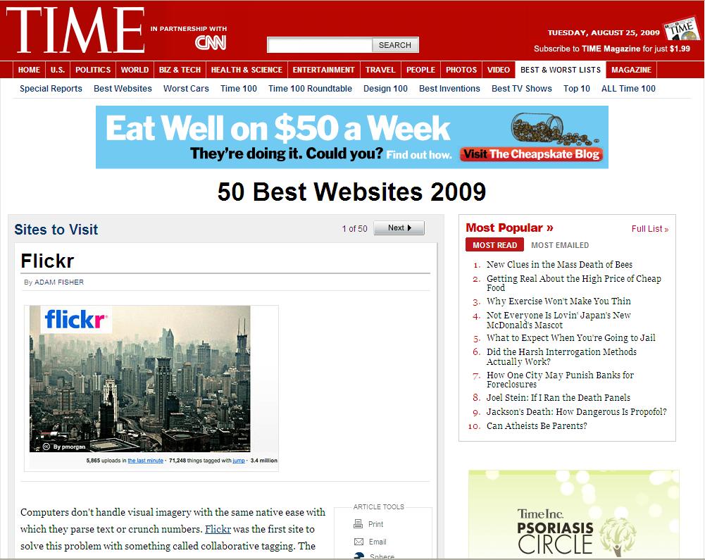 Un detalle de la página del reporte en Time.com.