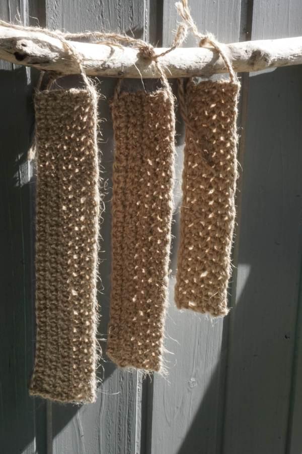 Échantillon ficelle de jute au crochet