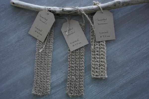 Example and samples of jute twine with different hooks