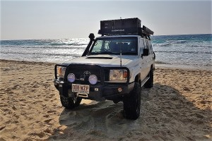 Our car on the beach of Fraser Island, Australia