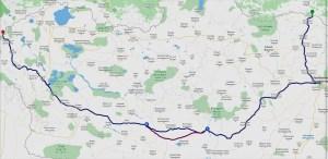 Travel route through Mongolia