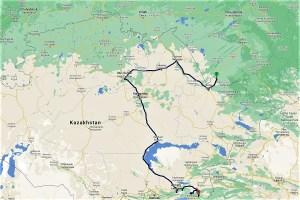 Reiseroute Kasachstan