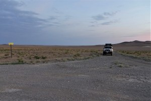 Land cruiser in the Kazakh steppe