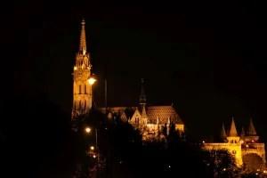 Matthias Church and Fisherman's Bastion at night