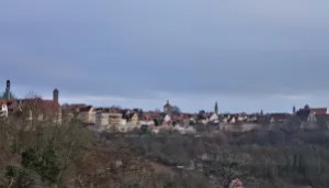 View from the castle garden to Rothenburg ob der Tauber, Germany