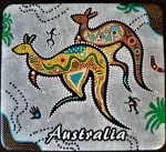 Australian coaster with painted kangaroos
