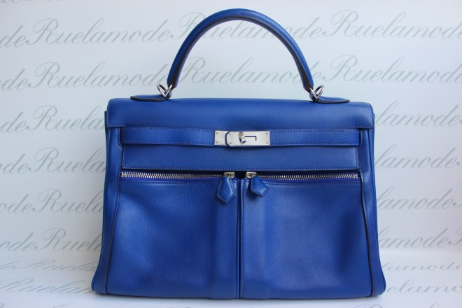 Hermes Kelly Lakis Blue Electric