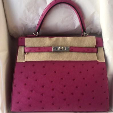 eacaa71dee5 Brand new Hermes Kelly 25 Rose Pourpre Ostrich PHW