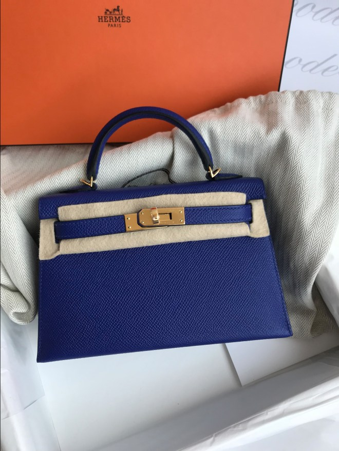 Hermes kelly Mini II blue electric