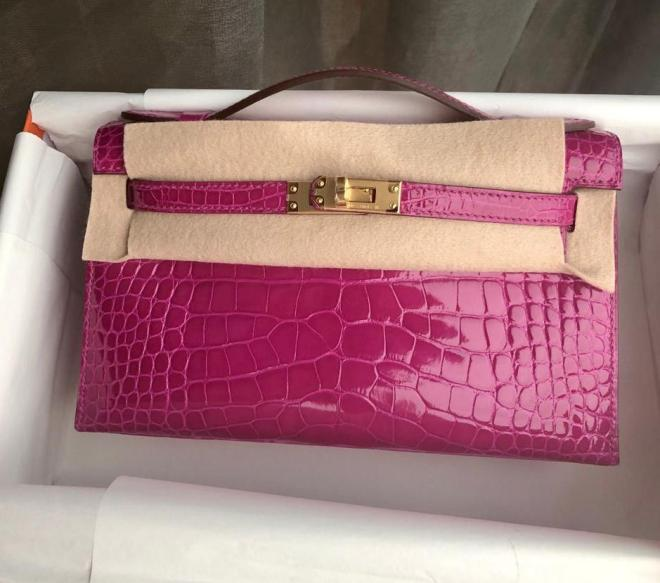 Hermes kelly pochette Rose Scherazade alligator ghw.jpeg