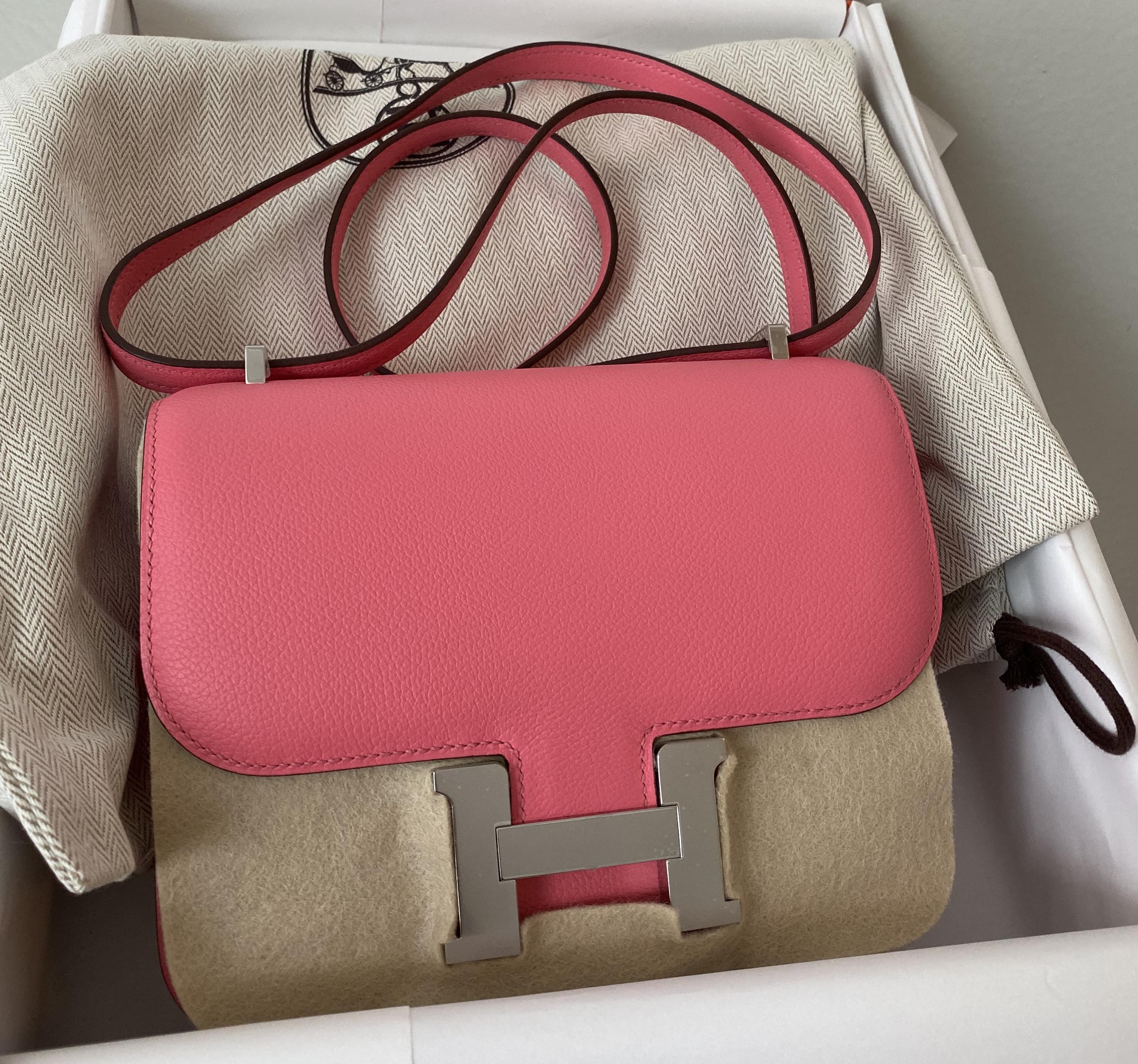 Brand New Hermes Constance 18 Rose Azalee Evercolor Phw Sold Ruelamode