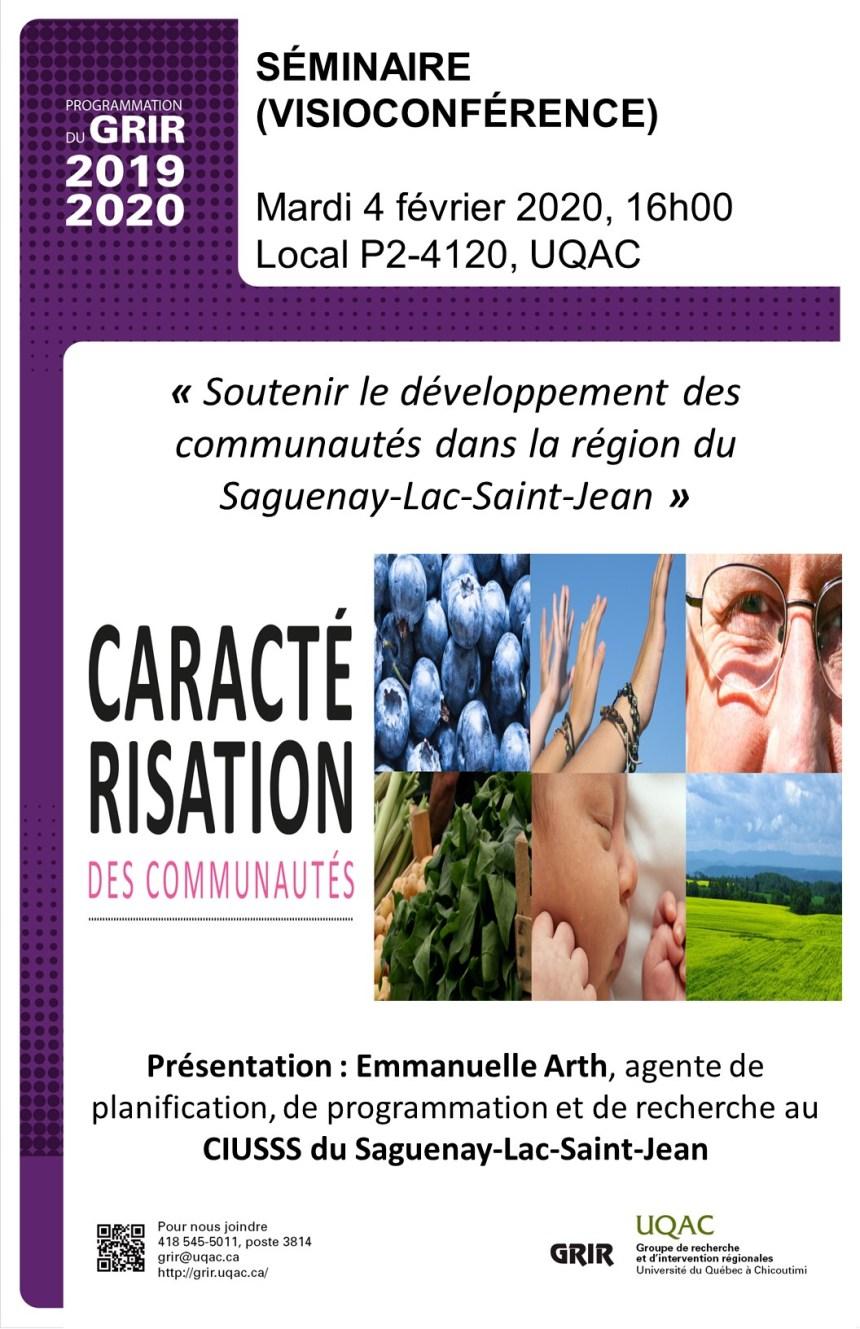Affiche Séminaire -Caractérisation des communautés du SLSJ