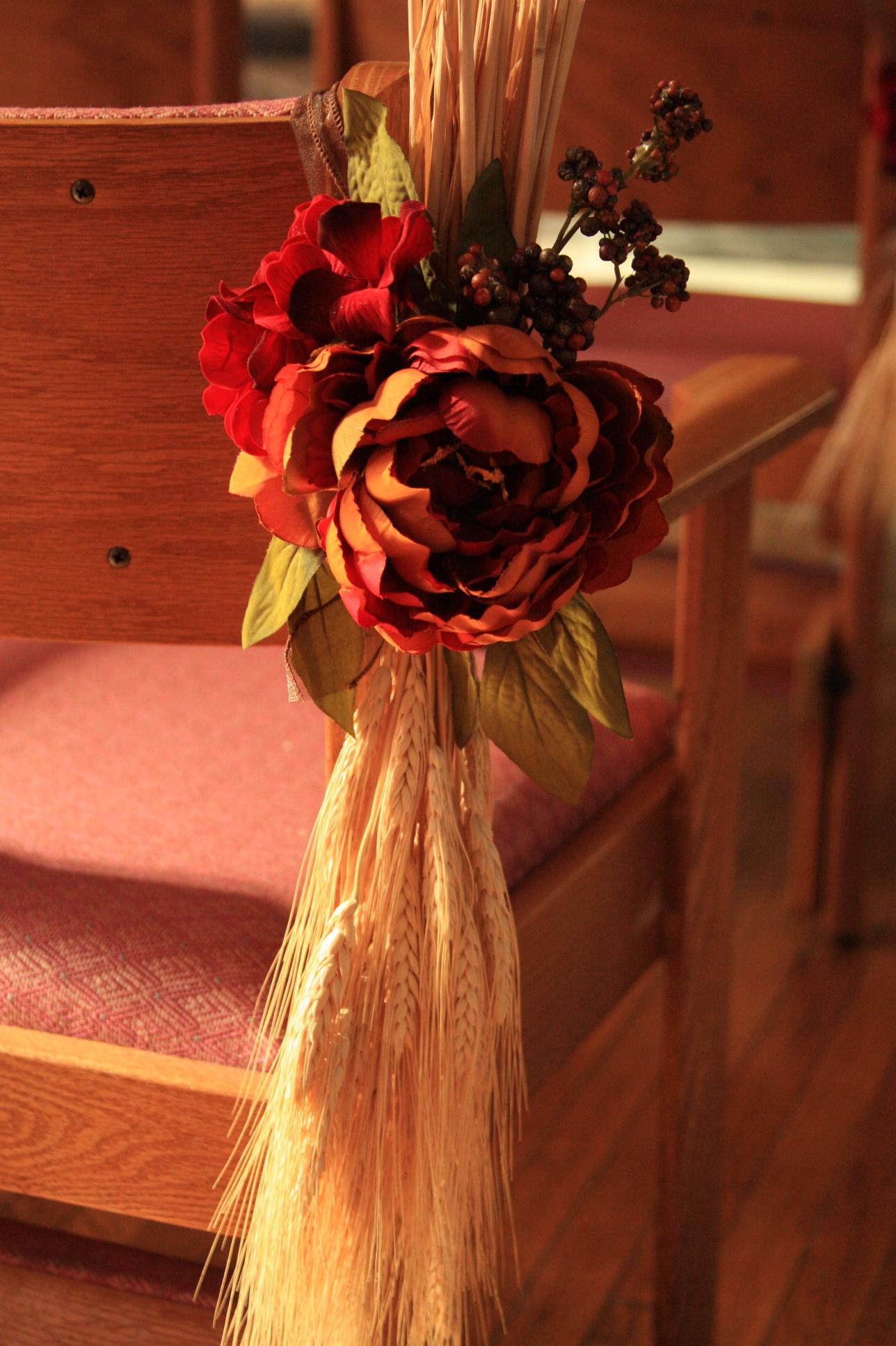 Fall Wedding Pew Decoration