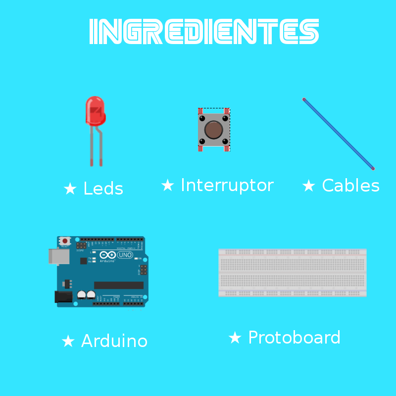 leds, interruptor, cables, Arduino, protoboard