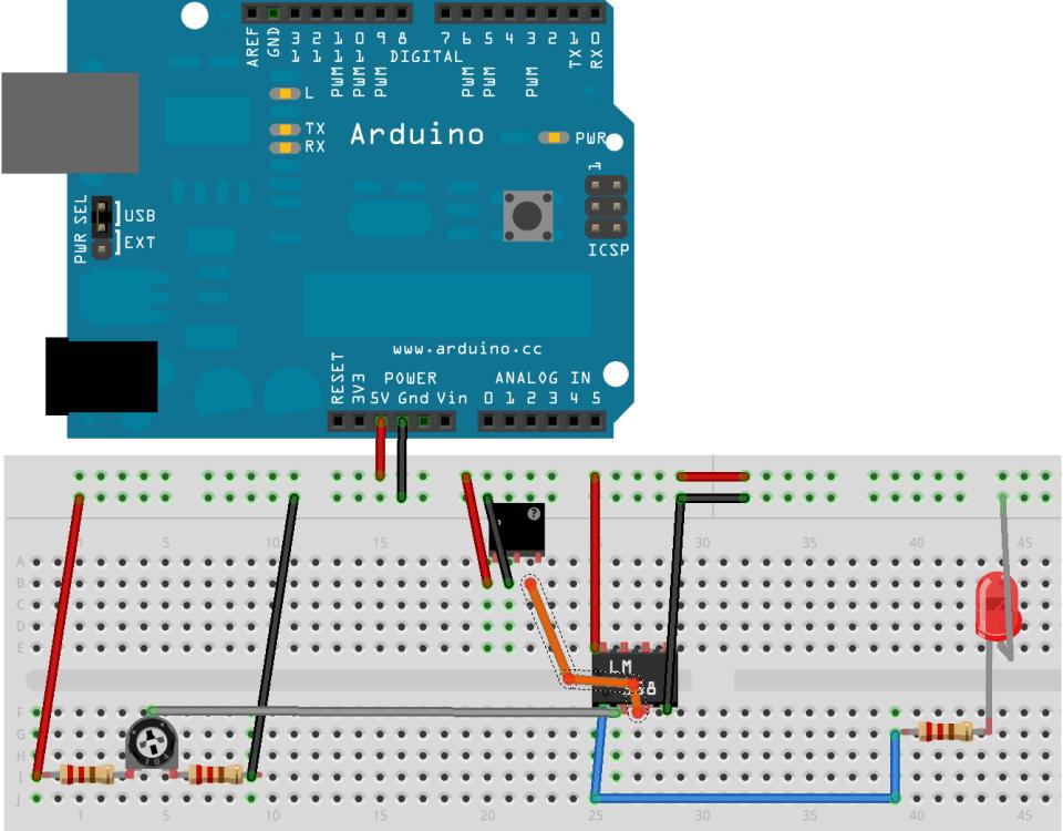 Vista del circuito con amplificador operacional y sensor hall