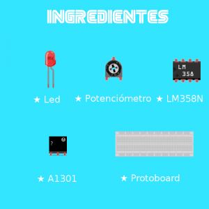 sensor Hall, led, potenciómetro, cables, LM358N, Arduino y Protoboard