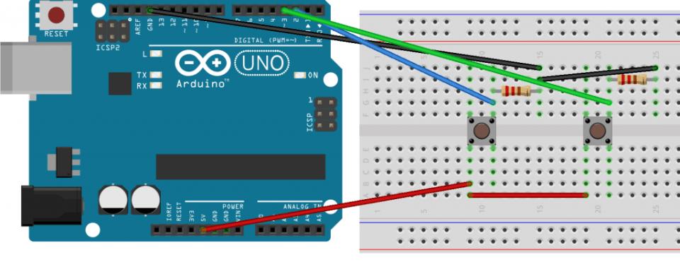 Esquema de dos pulsadores Arduino