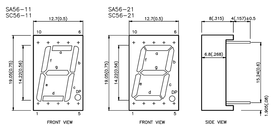 pinout display 7 segmentos