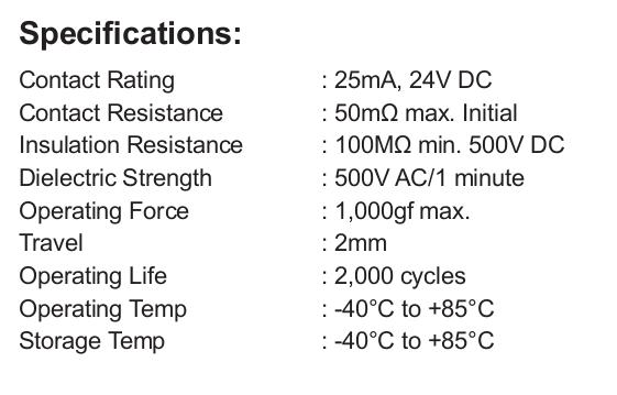 Especificaciones del datasheet del dip