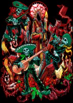 dia de muerte black background