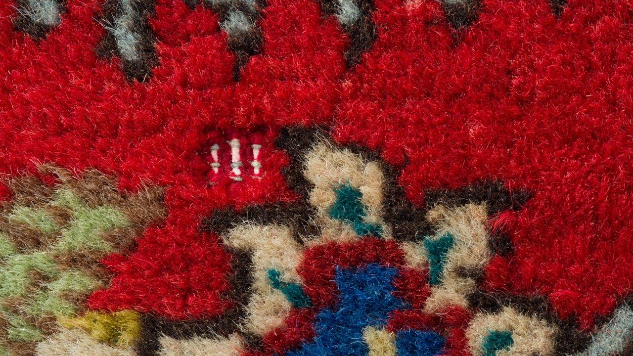 oriental rug with moth damage closeup