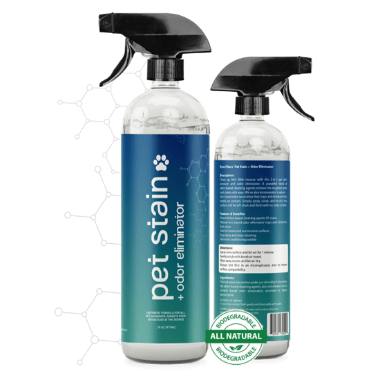 The Stain Lifter pet stain odor eliminator bottles front and back