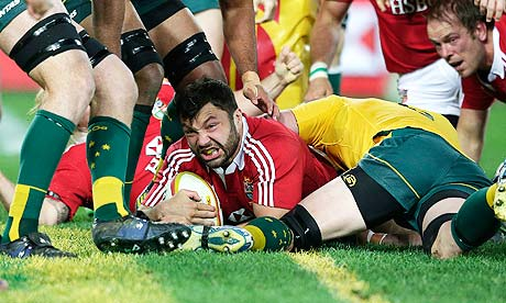 Alex Corbisiero scores the British & Irish Lions' opening try against Australia in the third Test