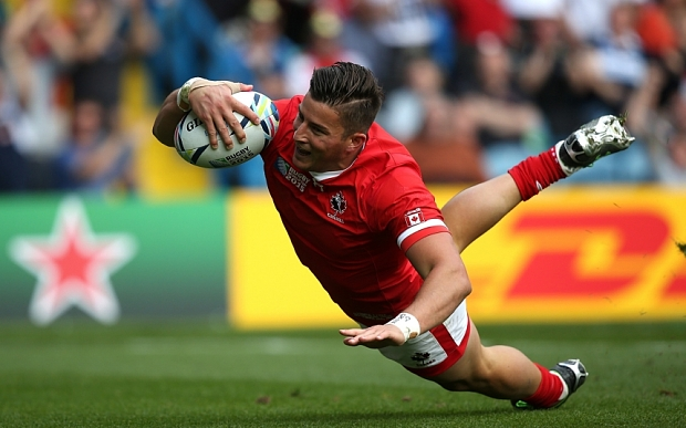 LEEDS, ENGLAND - SEPTEMBER 26: D.T.H van der Merwe of Canada goes over for the opening try during the 2015 Rugby World Cup Pool D match between Italy and Canada at Elland Road on September 26, 2015 in Leeds, United Kingdom. (Photo by Jan Kruger/Getty Images)