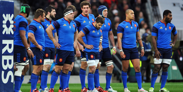 France players stand dejected under the posts after conceding an early try. RBS Six Nations match between England and France on March 21, 2015 at Twickenham Stadium in London, England. Photo by: Patrick Khachfe / Onside Images
