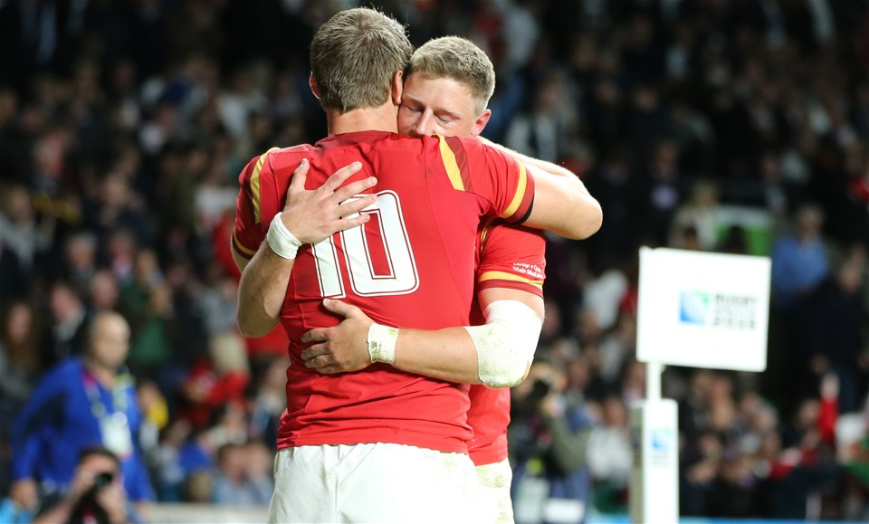 26.09.15 - England v Wales, Rugby World Cup 2015 - Dan Biggar of Wales and Rhys Priestland of Wales celebrate victory over England at the end of the match