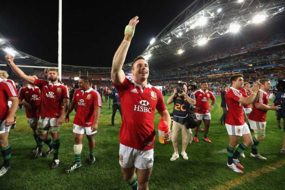 SYDNEY, AUSTRALIA - JULY 06:  Tommy Bowe of the Lions leads the celebrations after their victory during the International Test match between the Australian Wallabies and British & Irish Lions at ANZ Stadium on July 6, 2013 in Sydney, Australia.  (Photo by David Rogers/Getty Images)