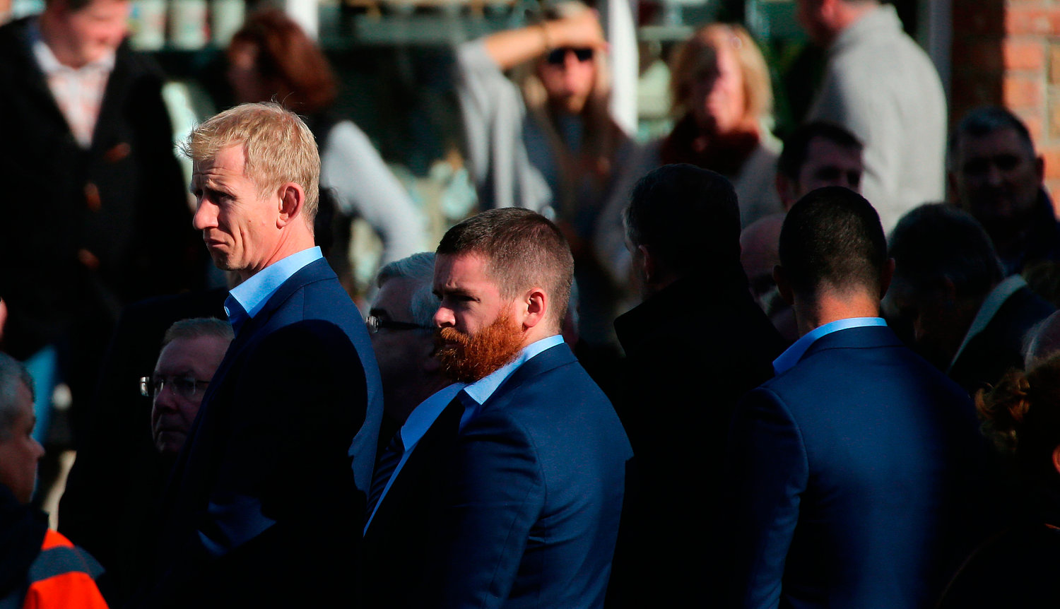 Leinster Head Coach Leo Cullen (left) as the coffin of Munster Rugby head coach Anthony Foley is brought to repose in St. Flannan's Church, Killaloe in Co Clare, ahead off his funeral tomorrow. PRESS ASSOCIATION Photo. Picture date: Thursday October 20, 2016. See PA story DEATH Foley. Photo credit should read: Niall Carson/PA Wire