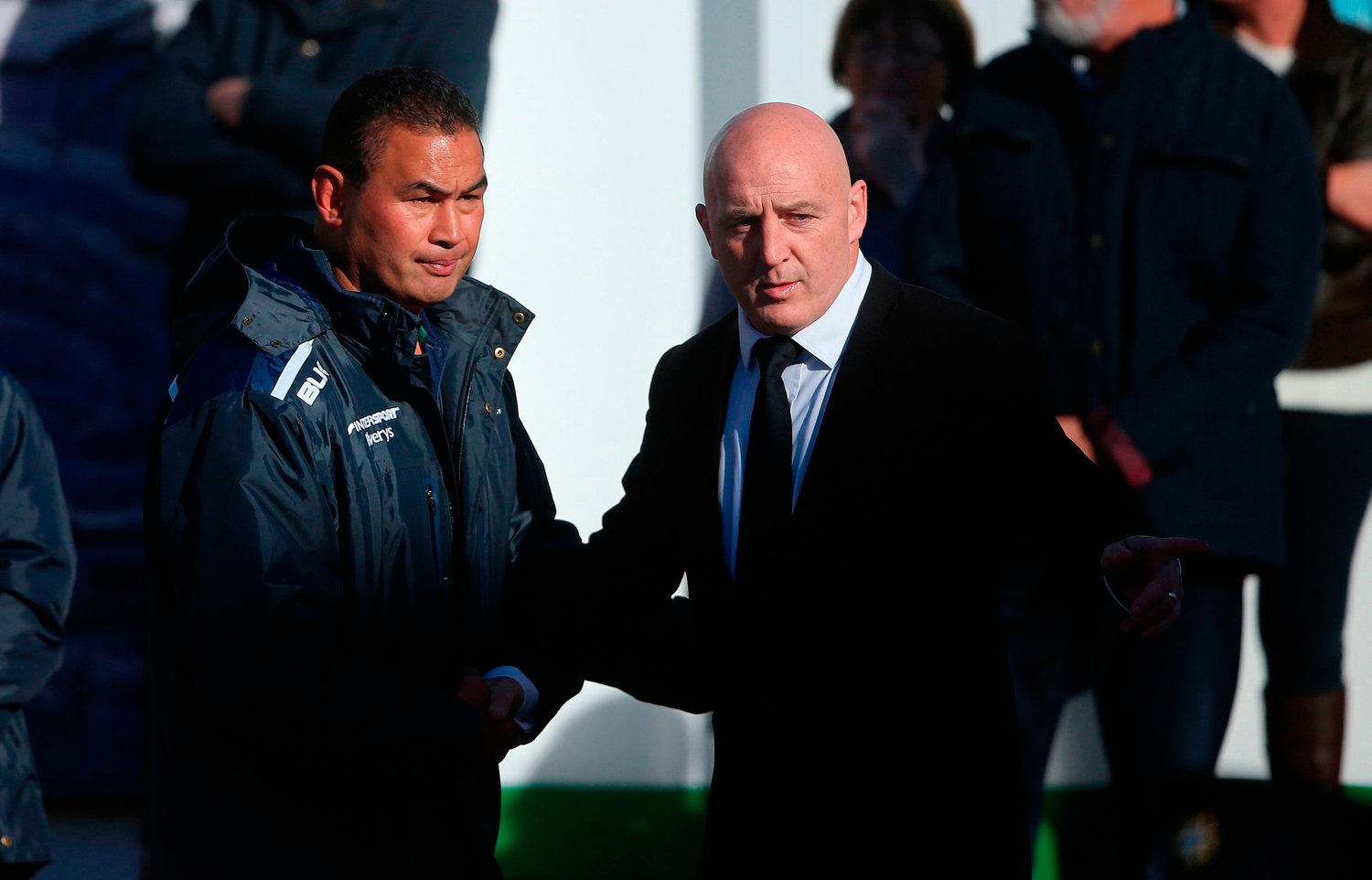 Munsters Keith Wood (right) welcomes Connacht Rugby head coach Pat Lam as the coffin of Munster Rugby head coach Anthony Foley is brought to repose in St. Flannan's Church, Killaloe in Co Clare, ahead off his funeral tomorrow. PRESS ASSOCIATION Photo. Picture date: Thursday October 20, 2016. See PA story DEATH Foley. Photo credit should read: Niall Carson/PA Wire