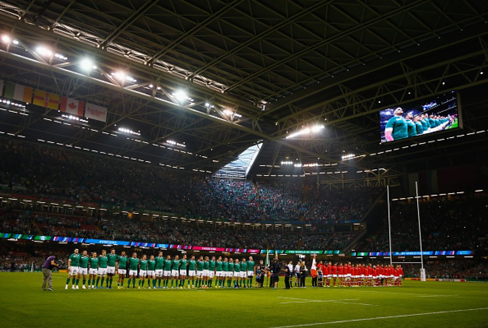 CARDIFF, WALES - SEPTEMBER 19:  The two teams line up for the national anthems ahead of the 2015 Rugby World Cup Pool D match between Ireland and Canada at the Millennium Stadium on September 19, 2015 in Cardiff, United Kingdom.  (Photo by Laurence Griffiths/Getty Images)