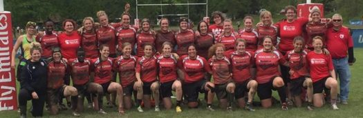 Photo of Wisconsin Women's Rugby team photo May 2016 at USA Rugby East playoffs