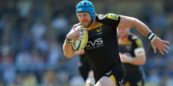 James Haskell goes on the attack. European Champions Cup play-off, between London Wasps and Stade Francais on May 18, 2014 at Adams Park in High Wycombe, England. Photo by: Patrick Khachfe / JMP