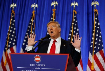 President-elect Donald Trump speaks during a news conference in the lobby of Trump Tower in New York, Wednesday, Jan. 11, 2017. (Evan Vucci/AP/CP)