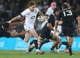 AUCKLAND, NEW ZEALAND - JUNE 07: Danny Cipriani of England breaks with ball away from Charlie Faumuina during the International Test Match between the New Zealand All Blacks and England at Eden Park on June 7, 2014 in Auckland, New Zealand. (Photo by David Rogers/Getty Images)