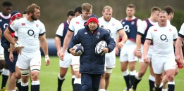 BAGSHOT, ENGLAND - FEBRUARY 04: Eddie Jones, the England head coach, leads his team during the England training session held at Pennyhill Park on February 4, 2016 in Bagshot, England. (Photo by David Rogers/Getty Images)