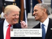 US President Donald Trump and former President Barack Obama talk on the East steps of the US Capitol after inauguration ceremonies on January 20, 2017, in Washington, DC. / AFP / Robyn BECK (Photo credit should read ROBYN BECK/AFP/Getty Images)