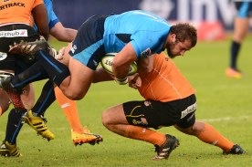 PRETORIA, SOUTH AFRICA - APRIL 22: Pierre Schoeman of the Bulls tackled by Paul Schoeman of the Cheetahs during the Super Rugby match between Vodacom Bulls and Toyota Cheetahs at Loftus Versfeld on April 22, 2017 in Pretoria, South Africa. (Photo by Lee Warren/Gallo Images)