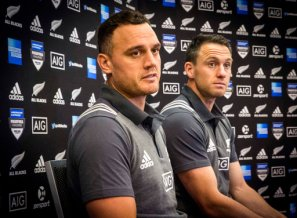 All Blacks' Israel Dagg, left, and captain Ben Smith talk with the media, Thursday, June 15, 2017, after the naming of Friday's team to face Samoa at Eden Park in Auckland, New Zealand. Coach Steve Hansen said while the match was planned to help the All Blacks prepare for the three-test series against the Lions, it was important in its own right. (Greg Bowker/New Zealand Herald via AP)