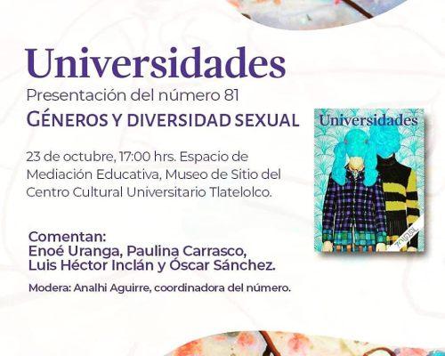 Presentación de revista Universidades 81: Géneros y Diversidad Sexual