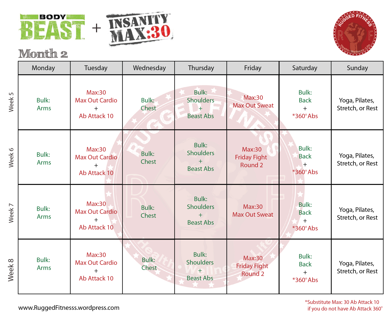 Body Beast Insanity Max 30 Hybrid Schedule