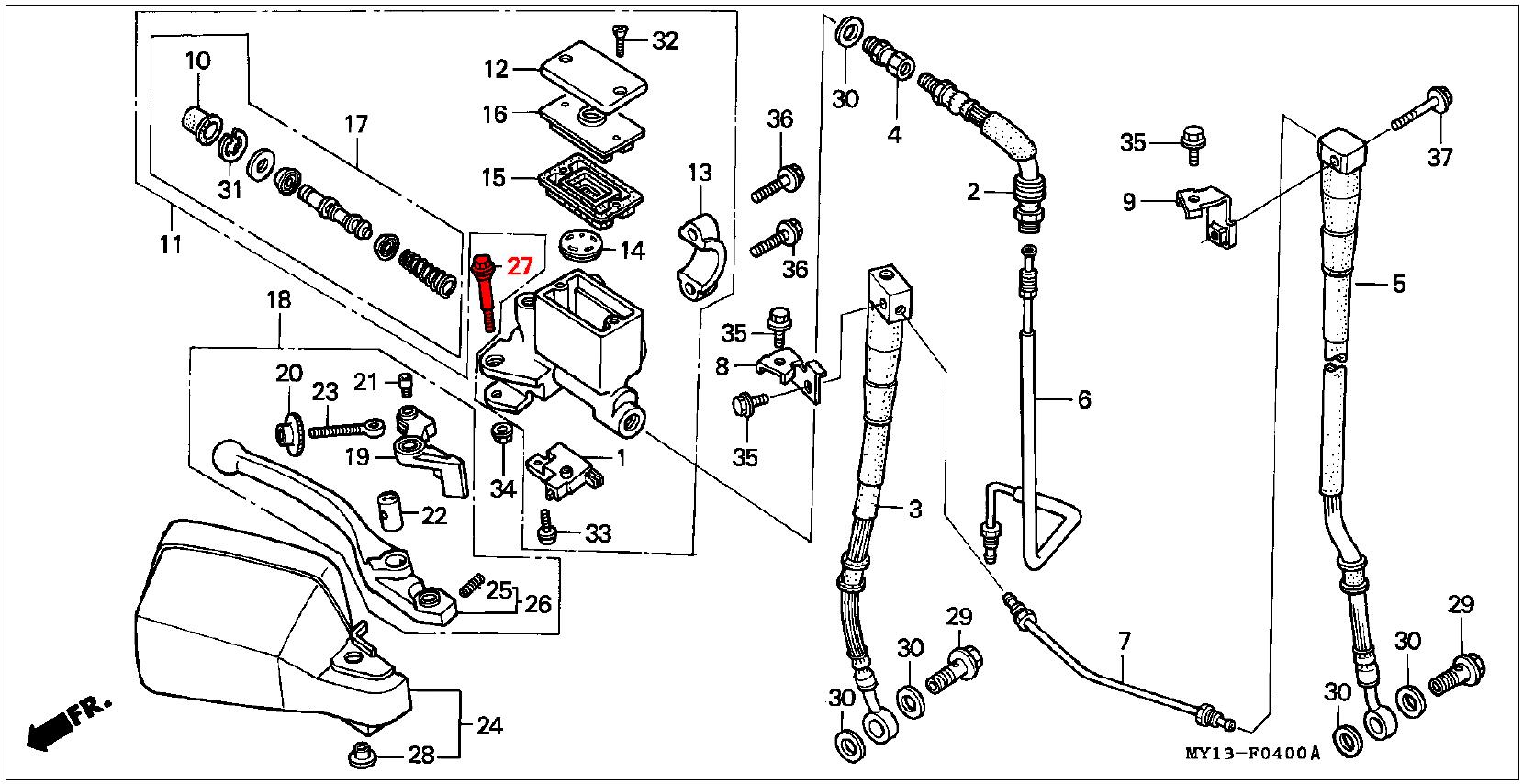 Oem Honda Brake Lever Pivot Bolt
