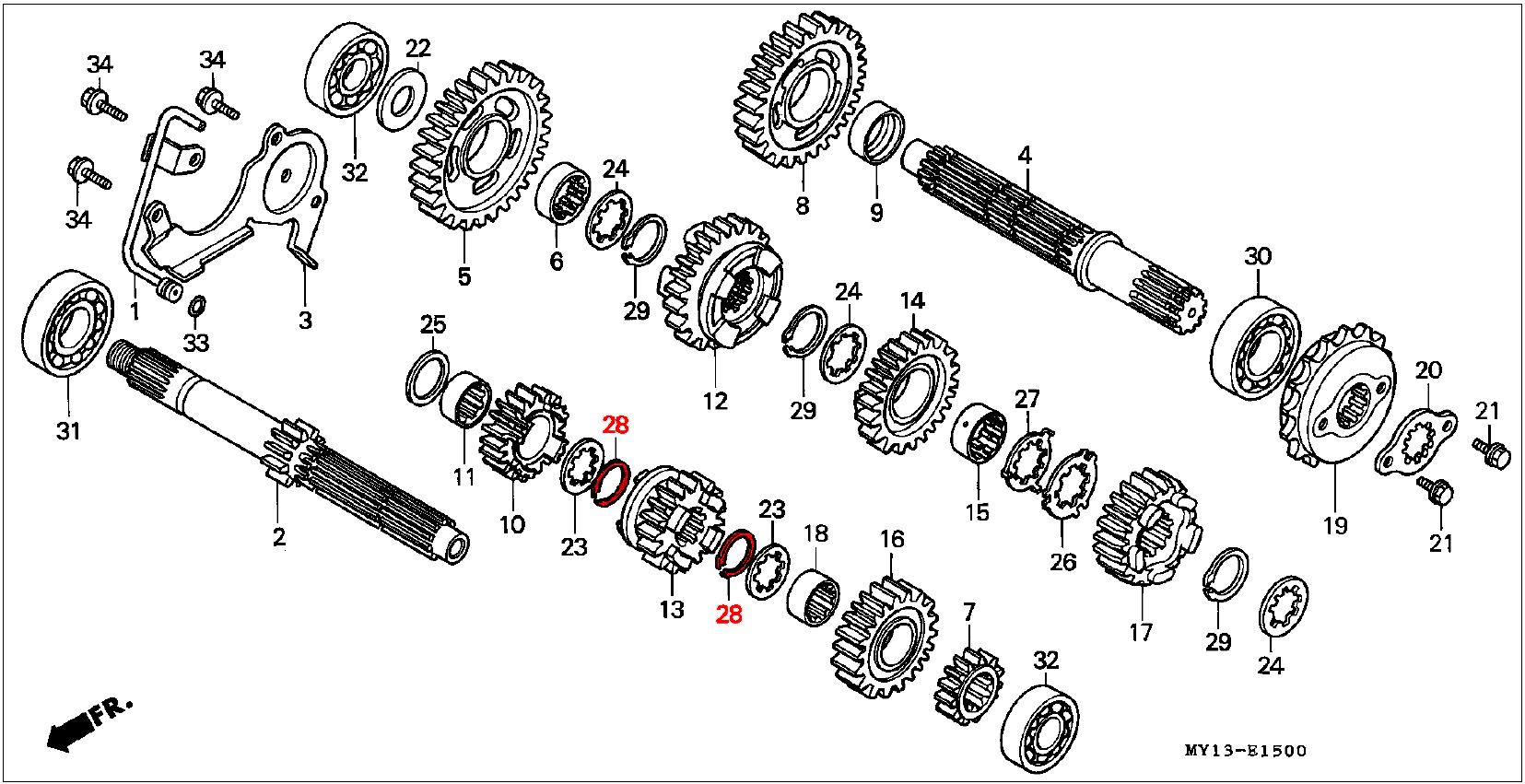Oem Honda Mainshaft Circlip 25mm