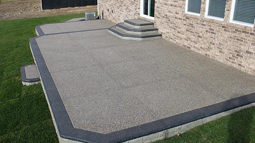 exposed aggregate concrete patios