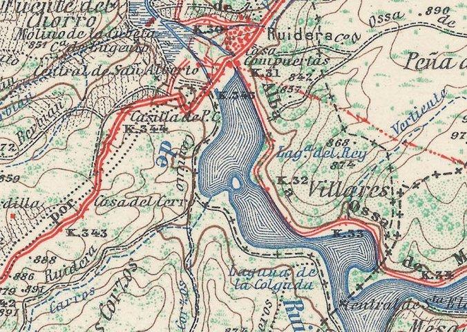 Mapa de Ruidera del año 1954