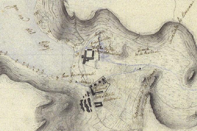 La casa de compuertas de Ruidera en el mapa de Castro del año 1852